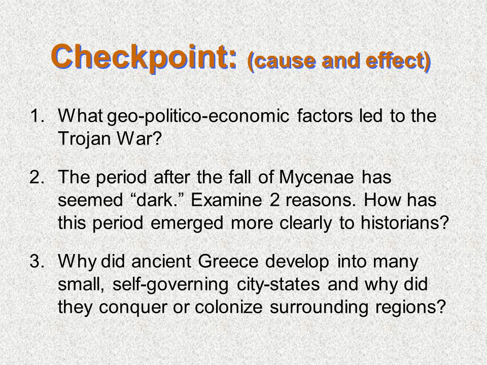 Checkpoint: (cause and effect)