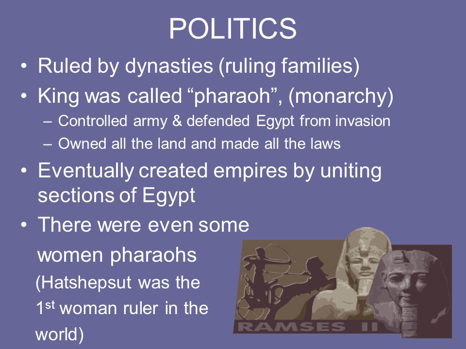 POLITICS Ruled by dynasties (ruling families)