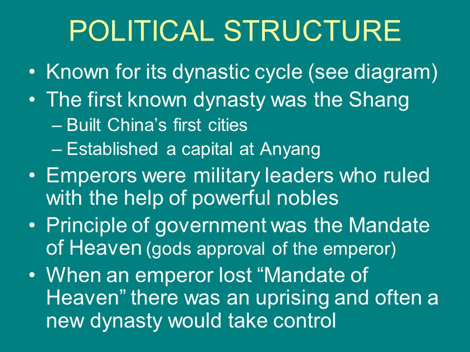 POLITICAL STRUCTURE Known for its dynastic cycle (see diagram)