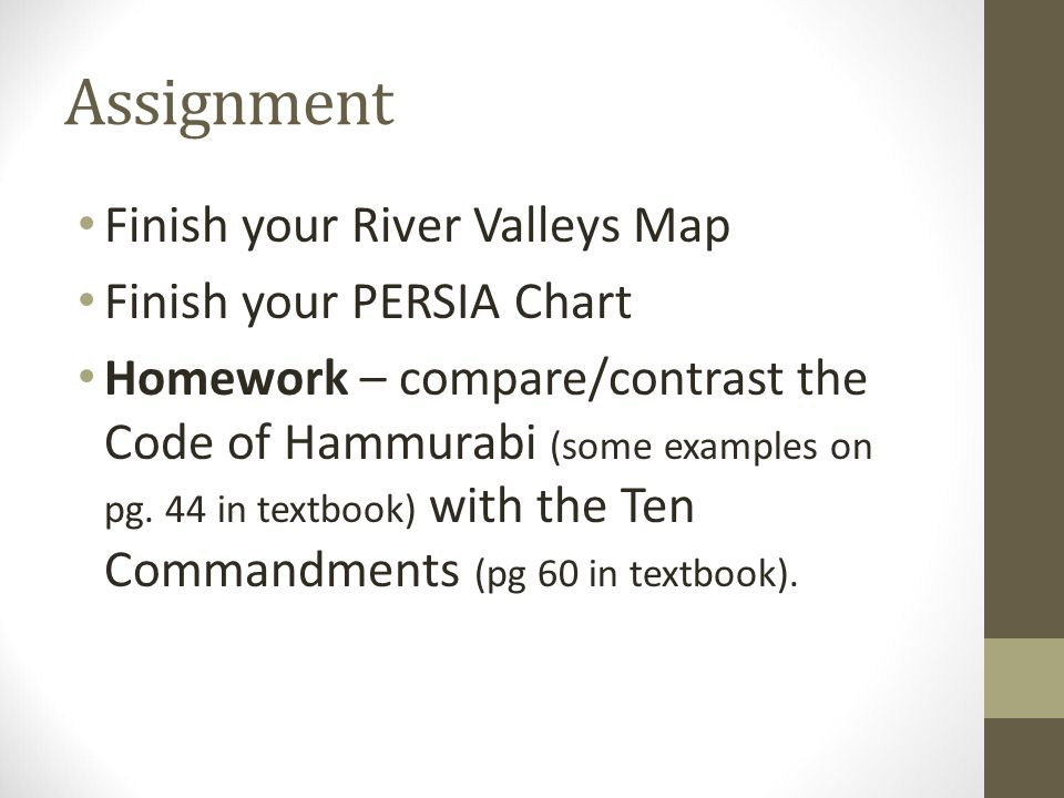 Assignment Finish your River Valleys Map Finish your PERSIA Chart