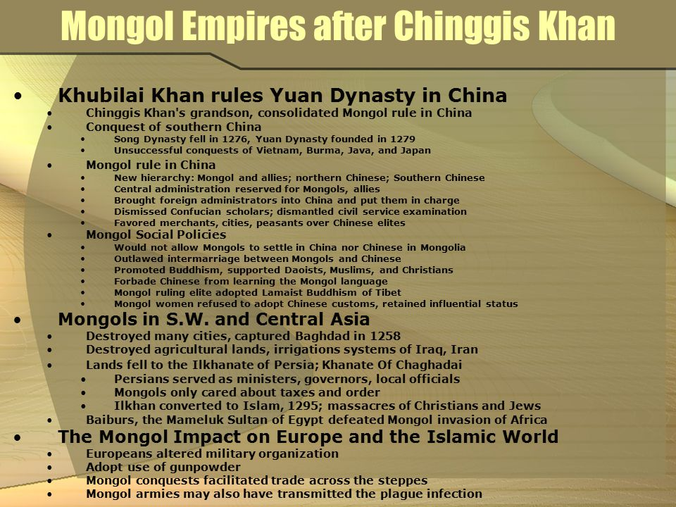 Mongol Empires after Chinggis Khan