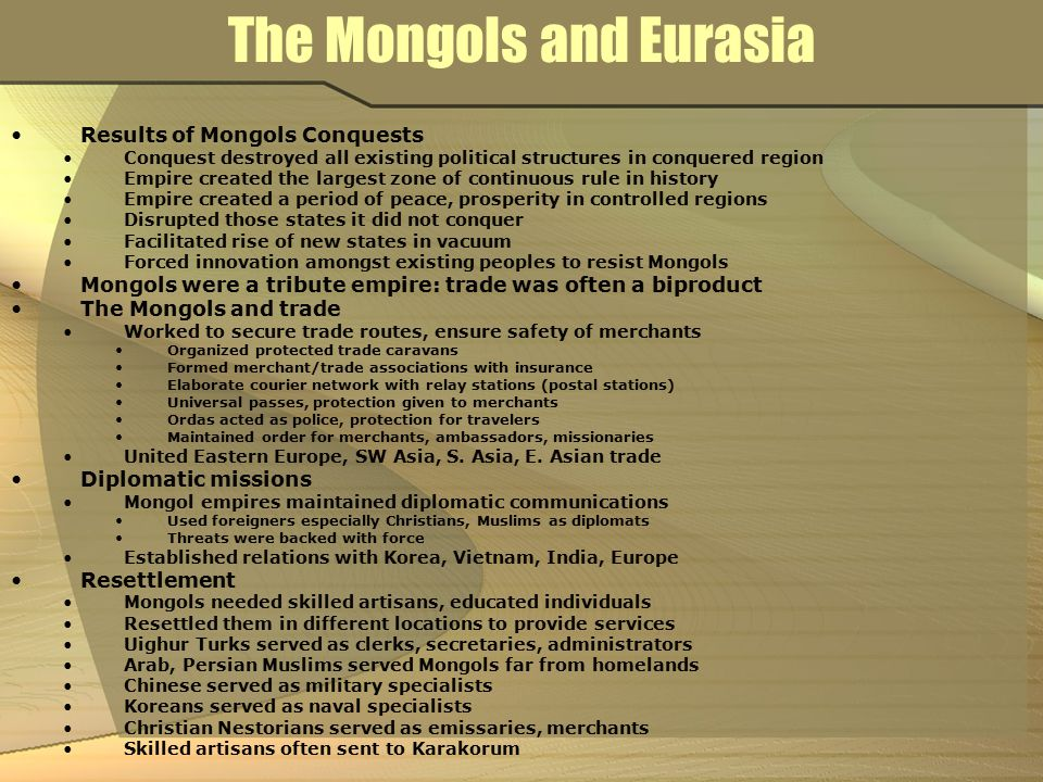 The Mongols and Eurasia
