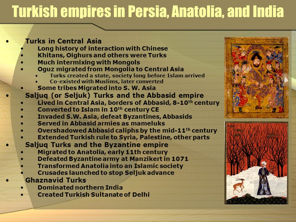 Turkish empires in Persia, Anatolia, and India