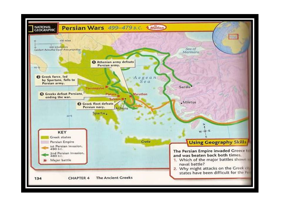 Salamis naval battle … Persians in enemy territory far from supply base