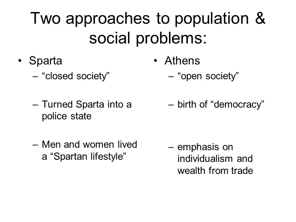 Two approaches to population & social problems: