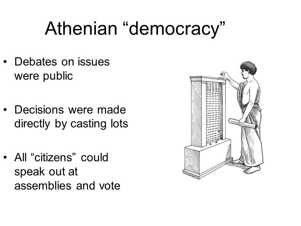 Athenian democracy Debates on issues were public