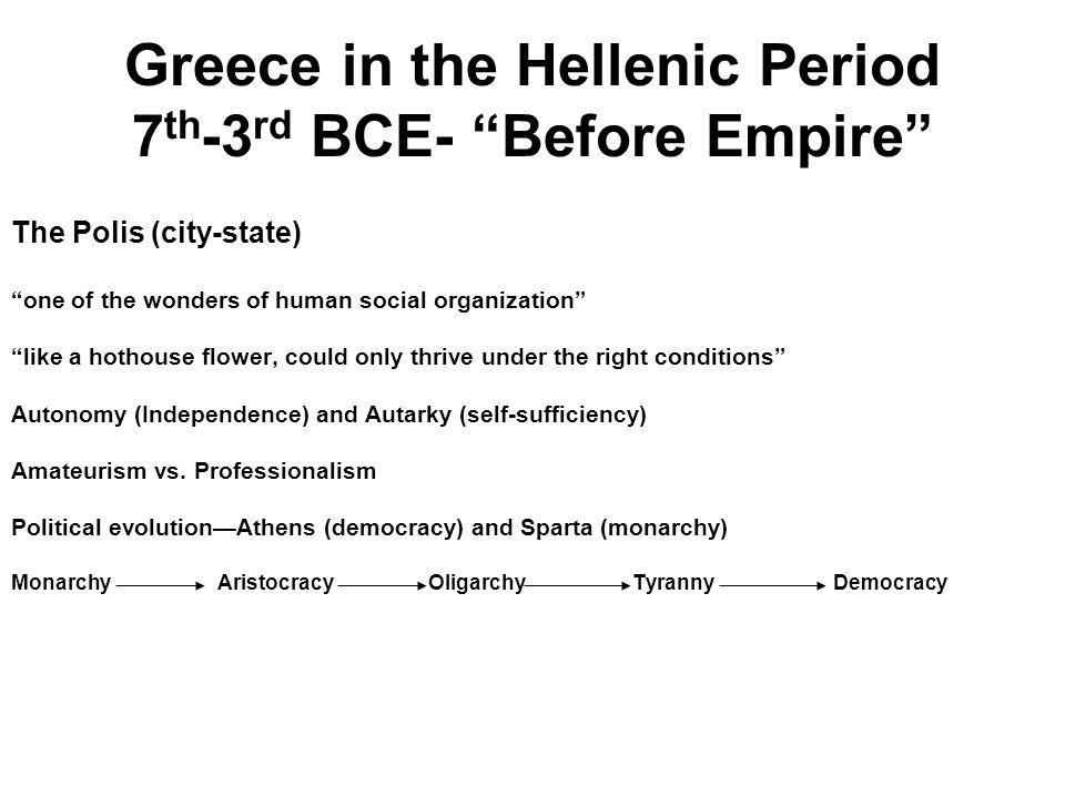 Greece in the Hellenic Period 7th-3rd BCE- Before Empire