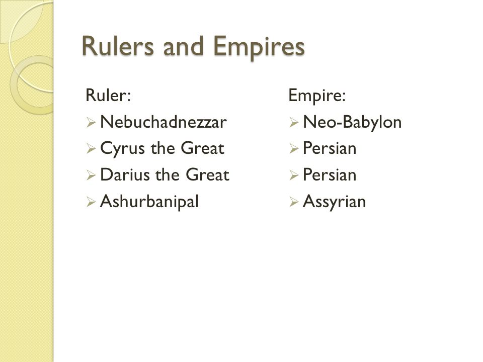 Rulers and Empires Ruler: Nebuchadnezzar Cyrus the Great