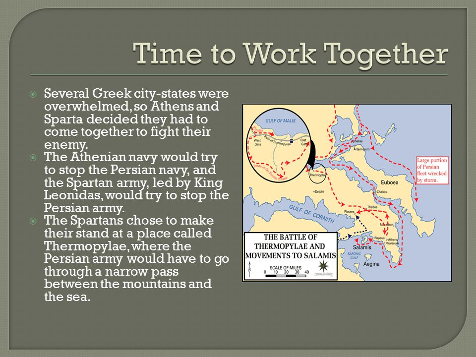 Time to Work Together Several Greek city-states were overwhelmed, so Athens and Sparta decided they had to come together to fight their enemy.