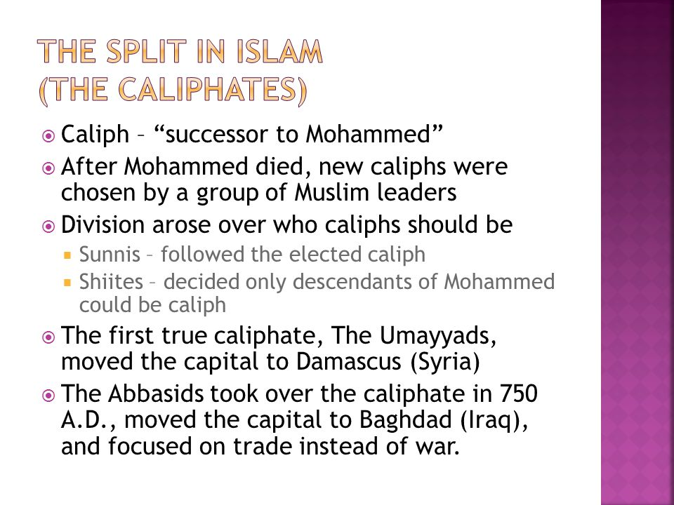 The split in Islam (the Caliphates)