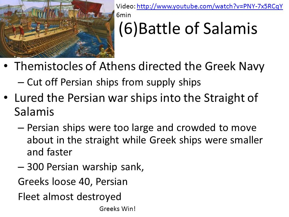 ( (6)Battle of Salamis Themistocles of Athens directed the Greek Navy