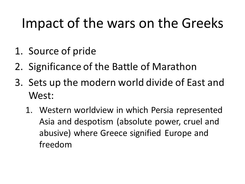 Impact of the wars on the Greeks