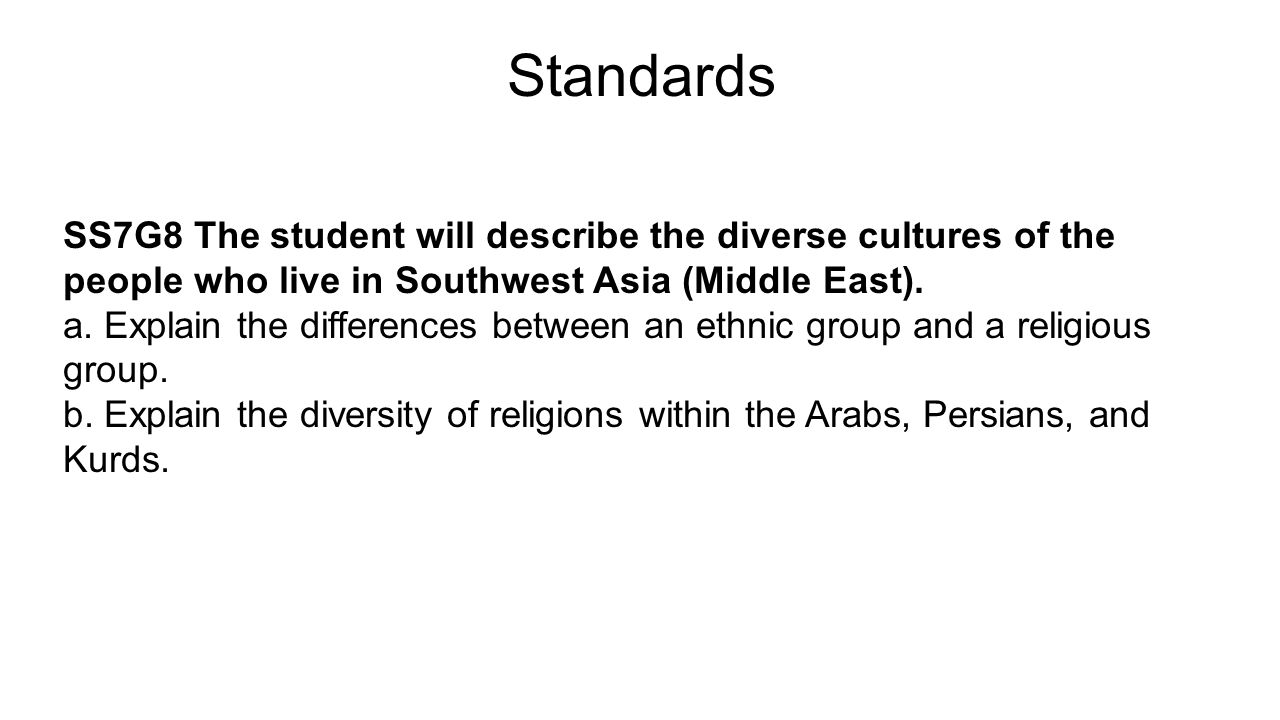 Standards SS7G8 The student will describe the diverse cultures of the people who live in Southwest Asia (Middle East).