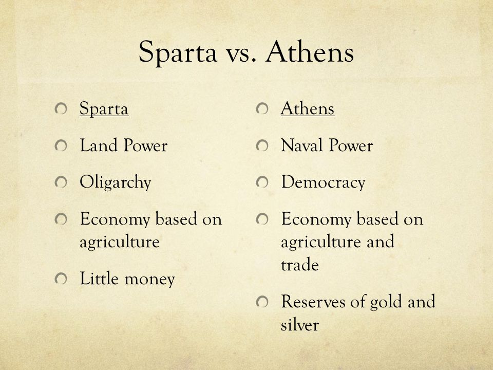 Sparta vs. Athens Sparta Land Power Oligarchy