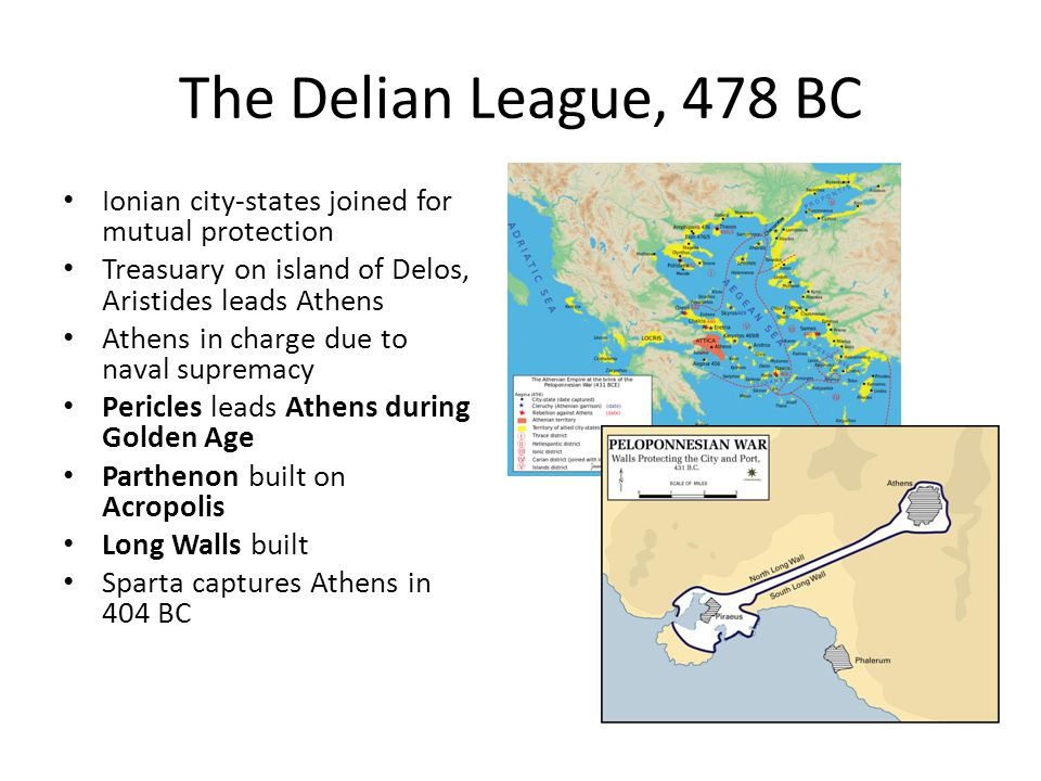 The Delian League, 478 BC Ionian city-states joined for mutual protection. Treasuary on island of Delos, Aristides leads Athens.