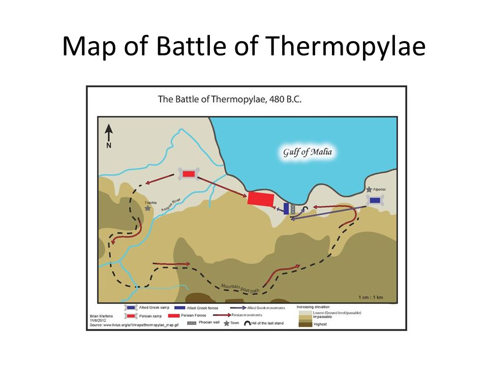 Map of Battle of Thermopylae
