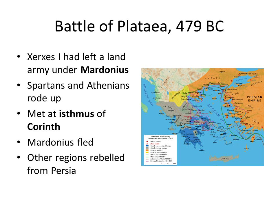 Battle of Plataea, 479 BC Xerxes I had left a land army under Mardonius. Spartans and Athenians rode up.