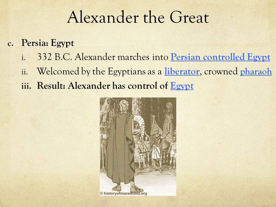 Alexander the Great Persia: Egypt
