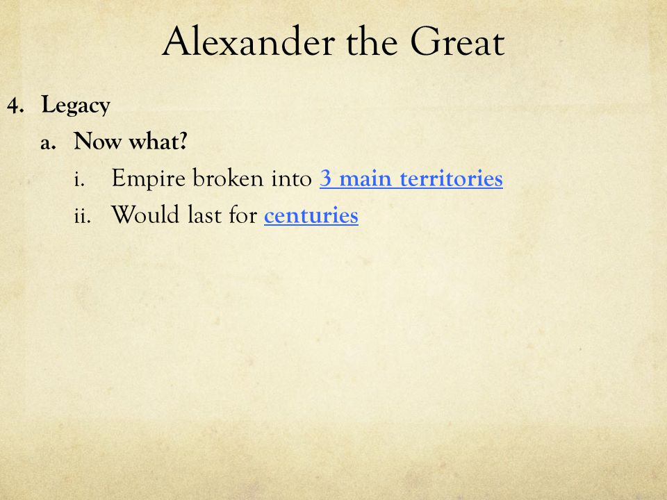 Alexander the Great Legacy Now what