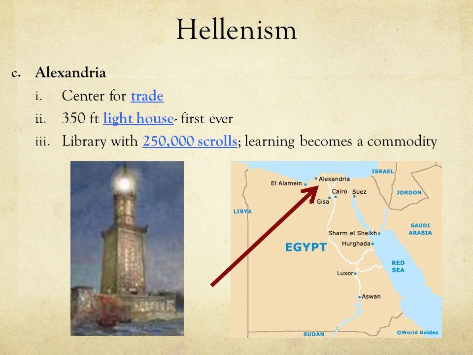 Hellenism Alexandria Center for trade 350 ft light house- first ever