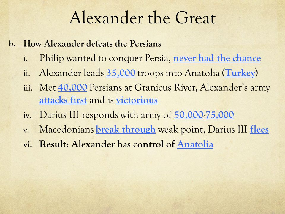 Alexander the Great How Alexander defeats the Persians. Philip wanted to conquer Persia, never had the chance.