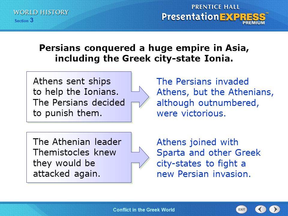 Persians conquered a huge empire in Asia, including the Greek city-state Ionia.