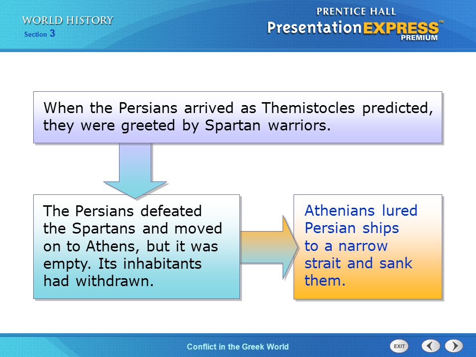 When the Persians arrived as Themistocles predicted, they were greeted by Spartan warriors.