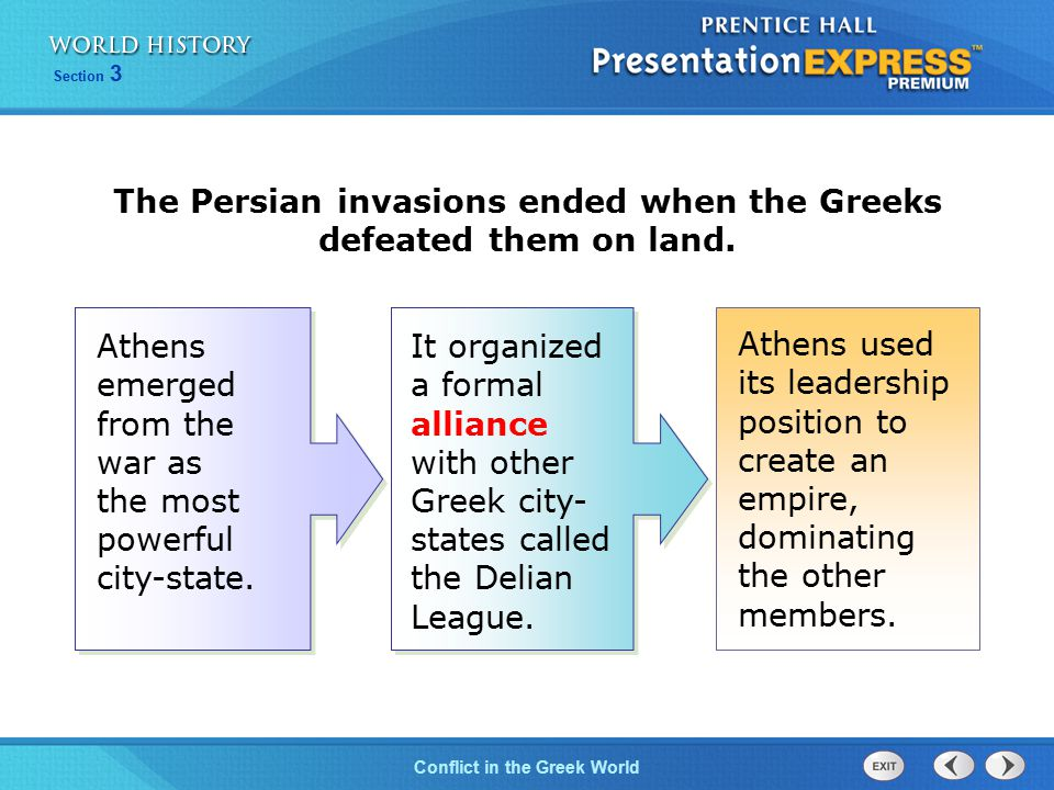 The Persian invasions ended when the Greeks defeated them on land.