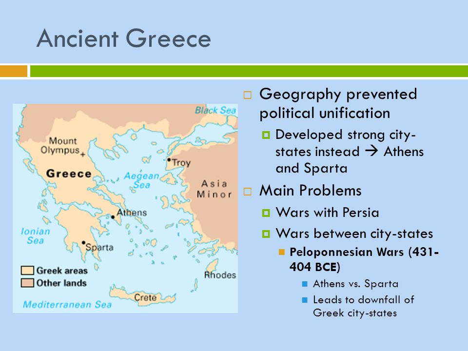 Ancient Greece Geography prevented political unification Main Problems