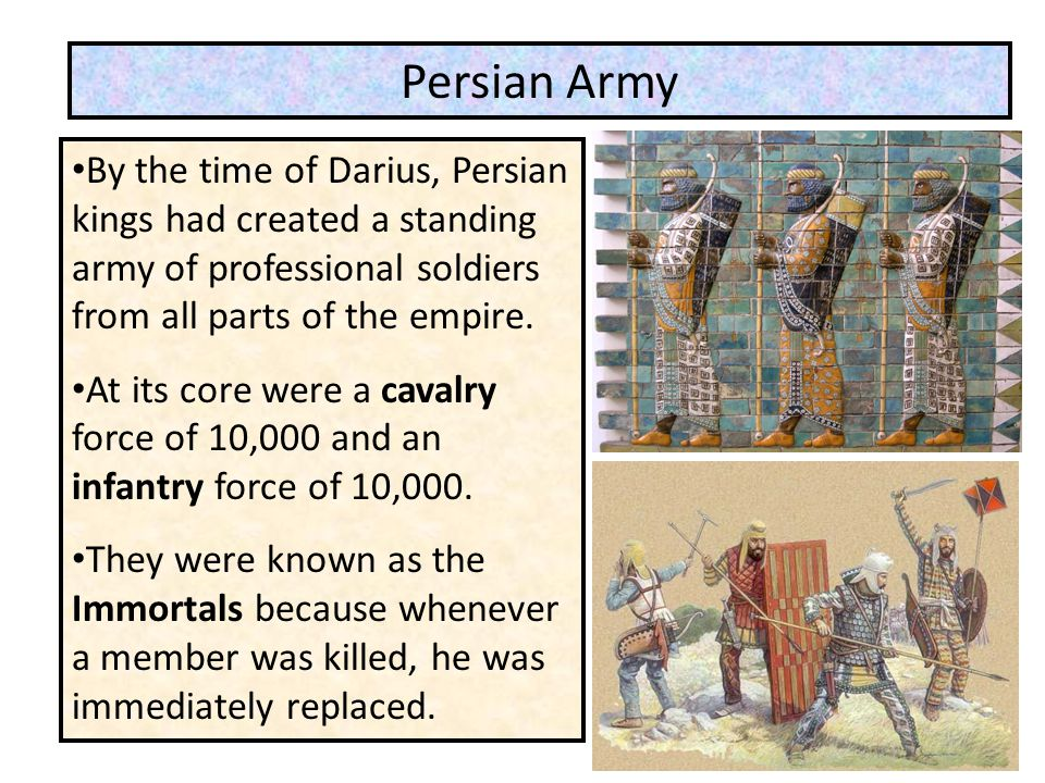 Persian Army By the time of Darius, Persian kings had created a standing army of professional soldiers from all parts of the empire.