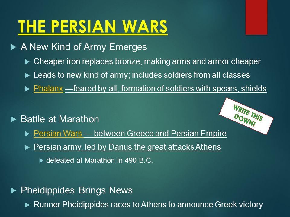 THE PERSIAN WARS A New Kind of Army Emerges Battle at Marathon