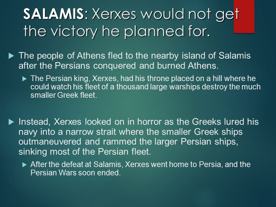SALAMIS: Xerxes would not get the victory he planned for.