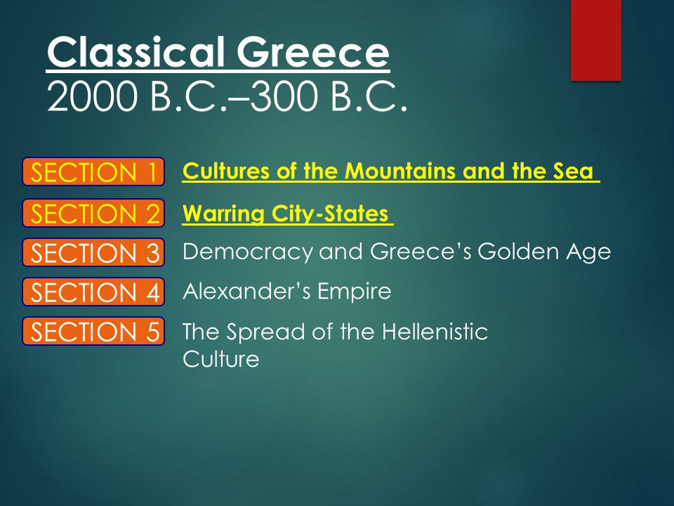 Classical Greece 2000 B.C.–300 B.C. SECTION 1 SECTION 2 SECTION 3