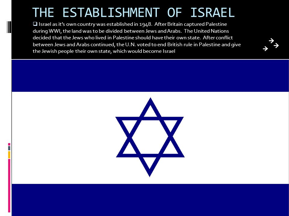 THE ESTABLISHMENT OF ISRAEL