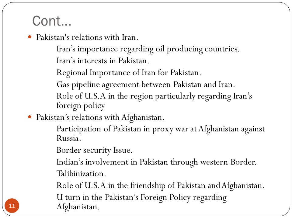 Cont… Pakistan s relations with Iran.