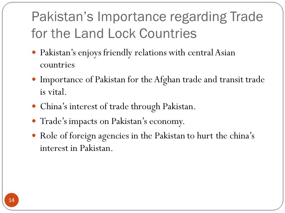 Pakistan's Importance regarding Trade for the Land Lock Countries