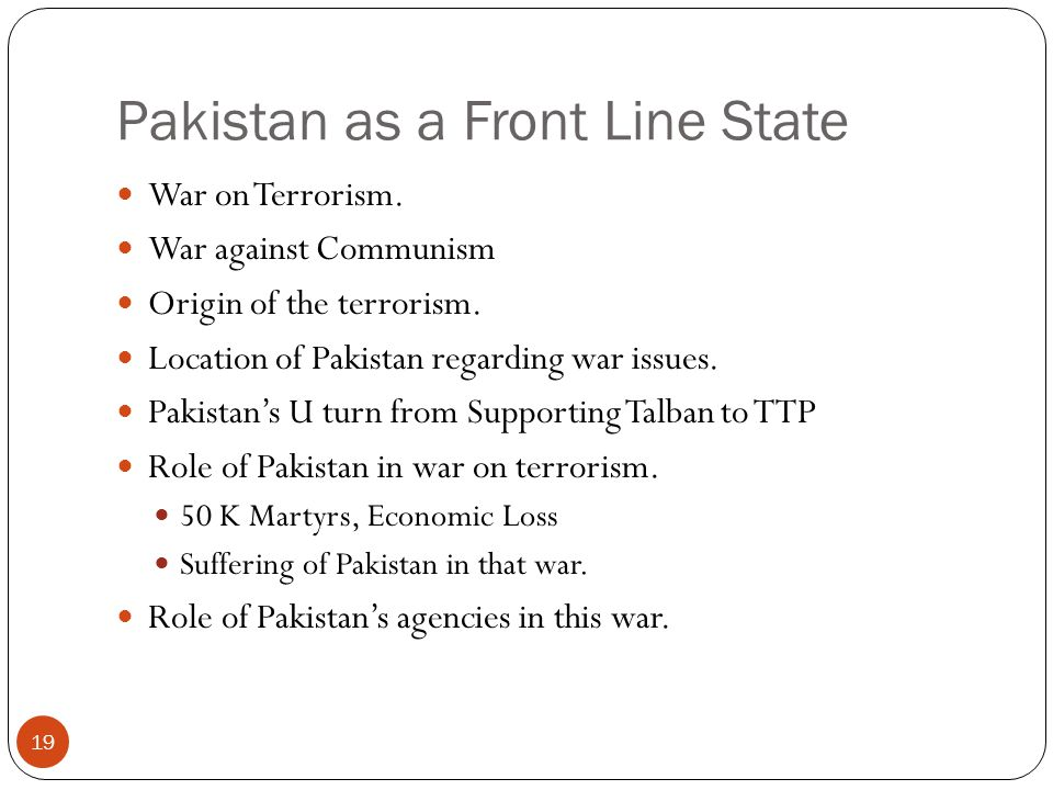 Pakistan as a Front Line State