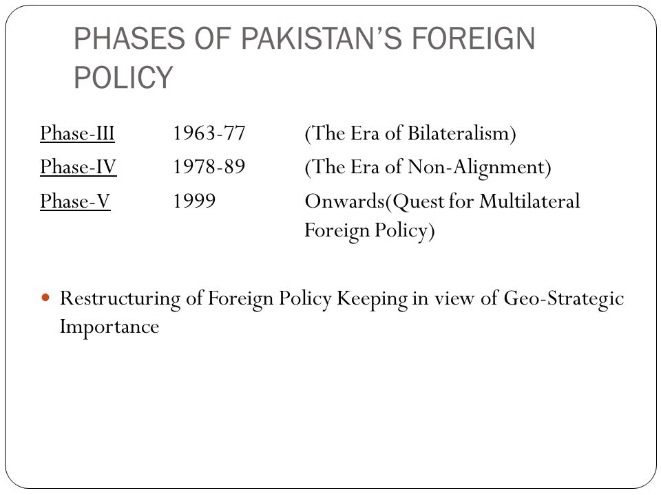 PHASES OF PAKISTAN'S FOREIGN POLICY