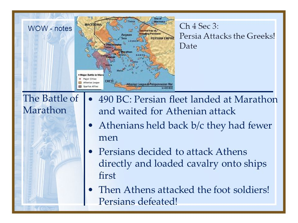 Athenians held back b/c they had fewer men