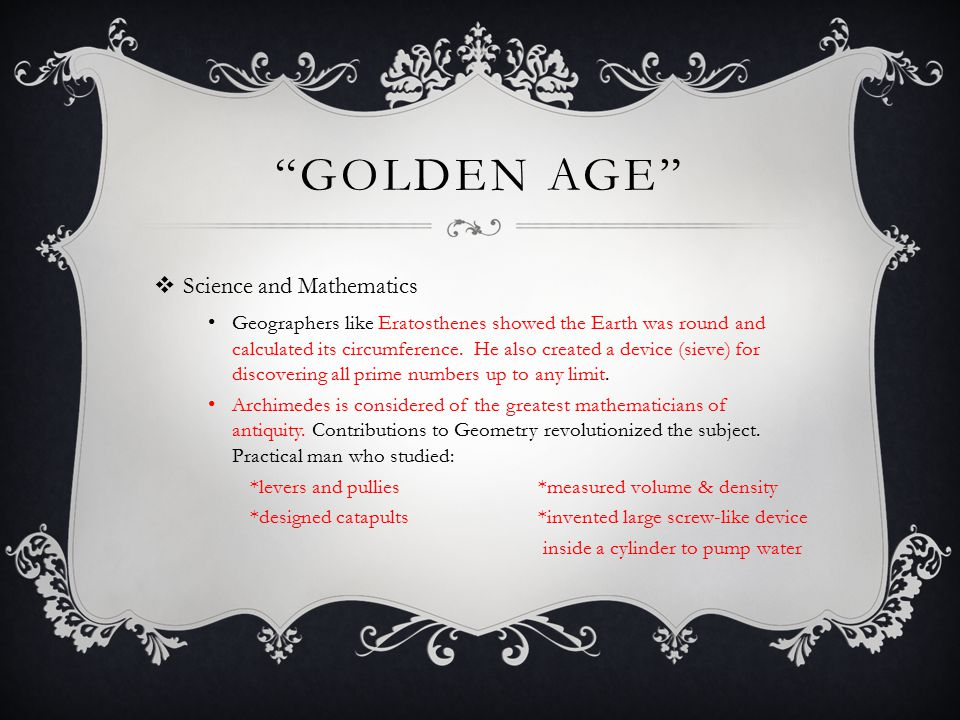 Golden Age Science and Mathematics