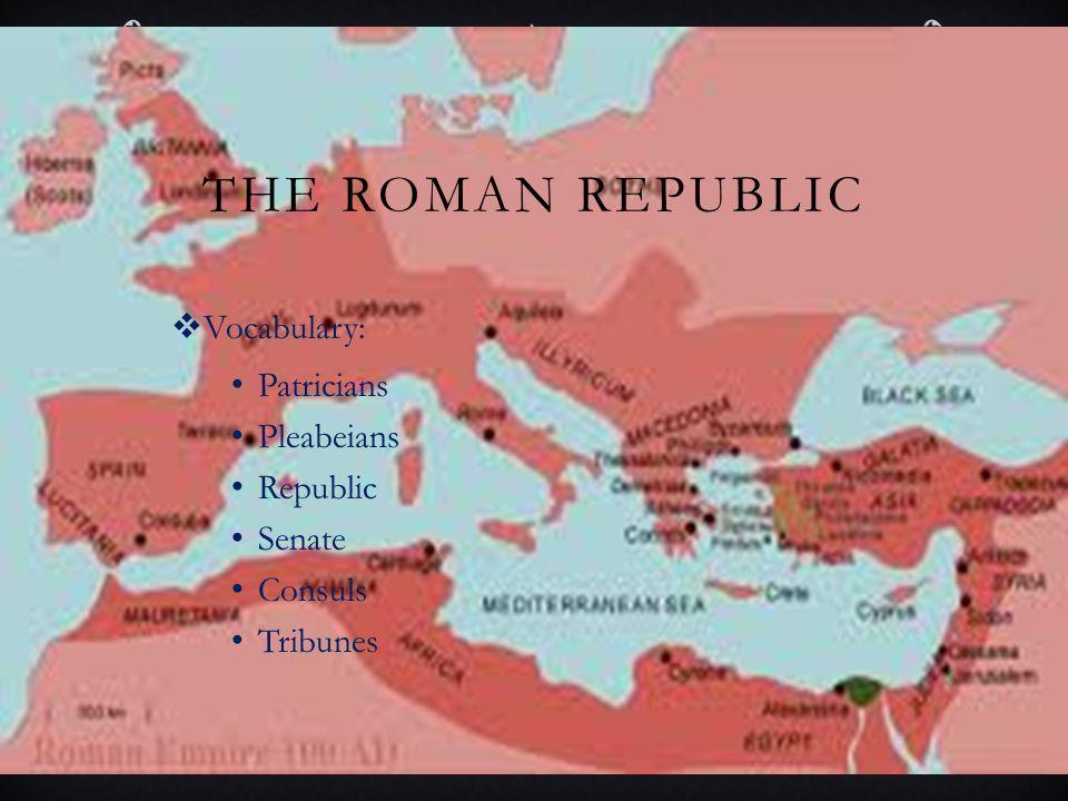The Roman Republic Vocabulary: Patricians Pleabeians Republic Senate