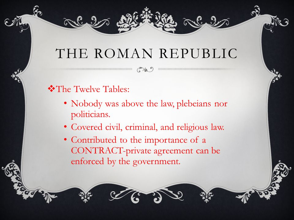 The roman republic The Twelve Tables: