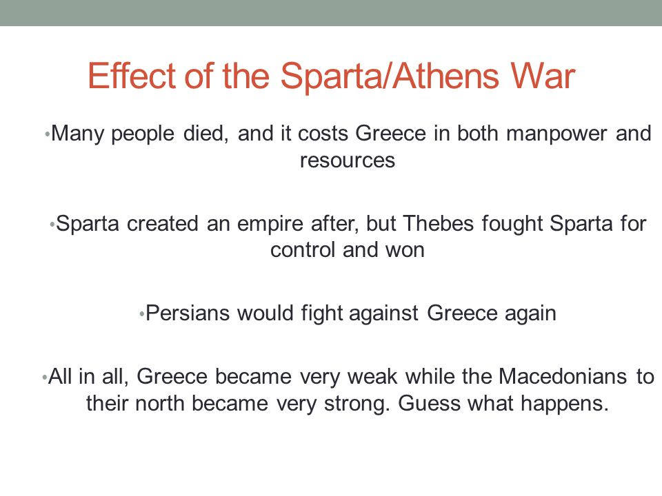 Effect of the Sparta/Athens War