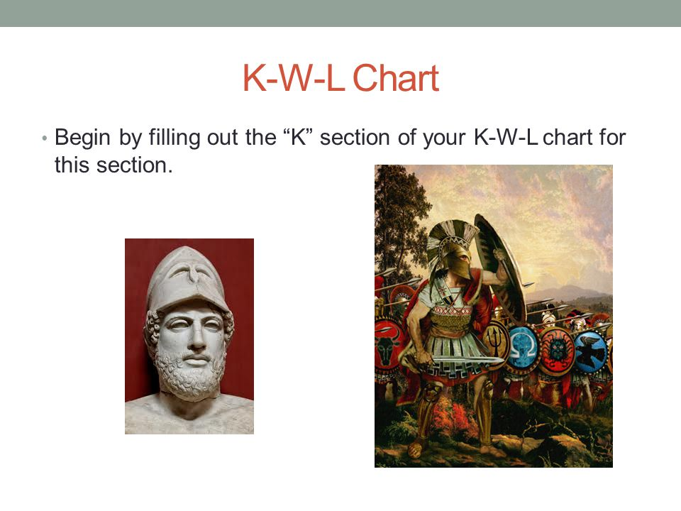 K-W-L Chart Begin by filling out the K section of your K-W-L chart for this section.