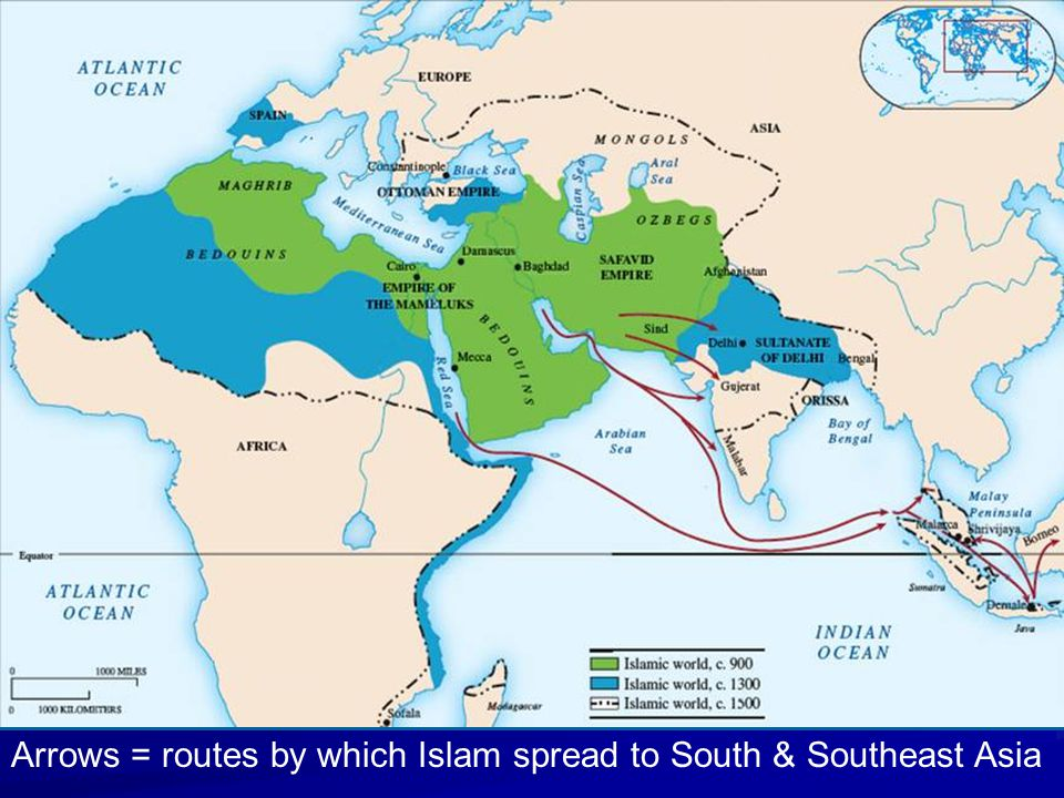 Arrows = routes by which Islam spread to South & Southeast Asia