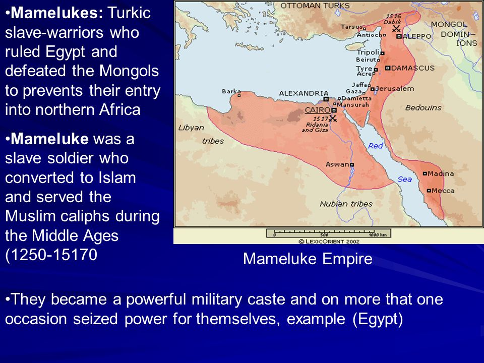 Mamelukes: Turkic slave-warriors who ruled Egypt and defeated the Mongols to prevents their entry into northern Africa