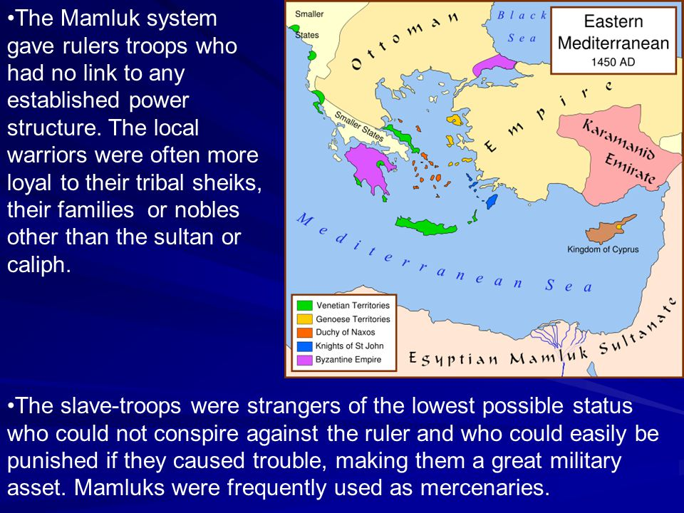 The Mamluk system gave rulers troops who had no link to any established power structure. The local warriors were often more loyal to their tribal sheiks, their families or nobles other than the sultan or caliph.