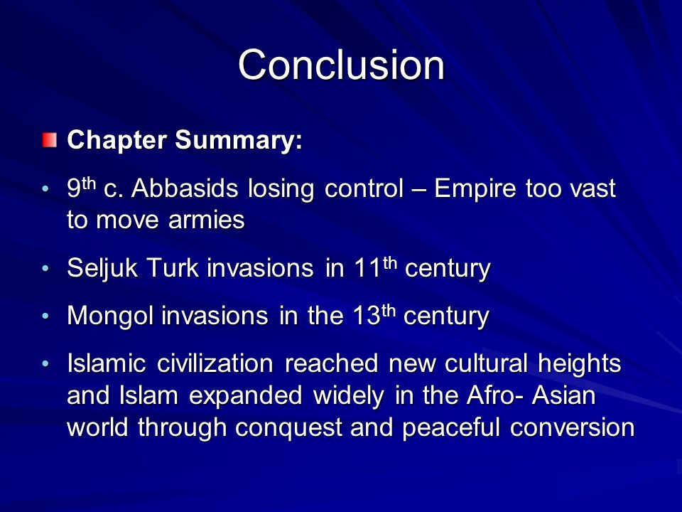 Conclusion Chapter Summary: