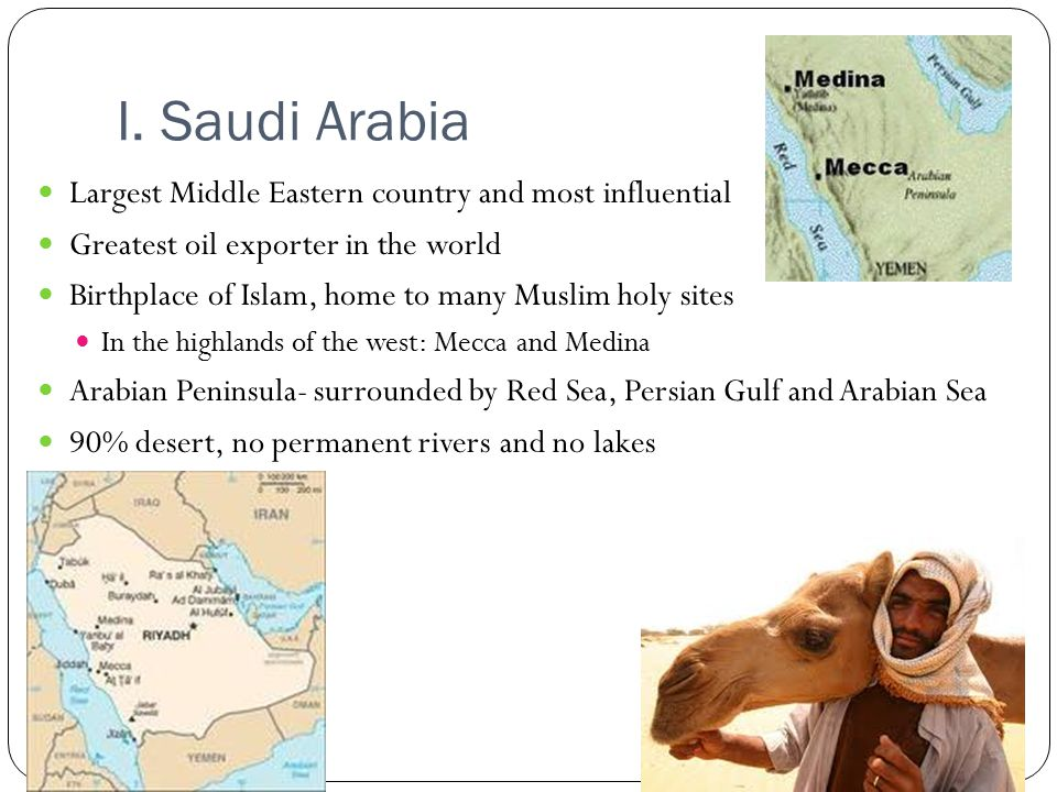 I. Saudi Arabia Largest Middle Eastern country and most influential