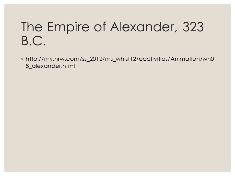 The Empire of Alexander, 323 B.C.